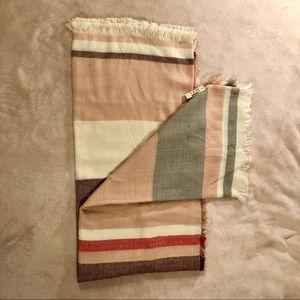 Multi-colored Shawl - Pink/Gray/Cream/Rust/Coral